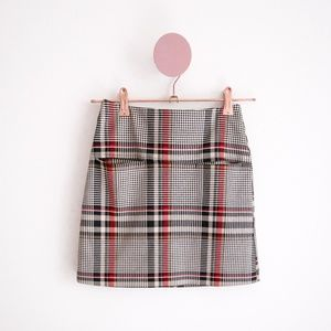 H&M Plaid Mini Skirt with Double Front Pockets